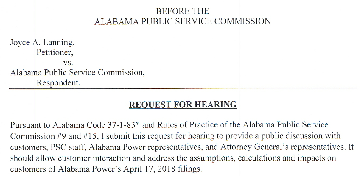 PSC hearing request image