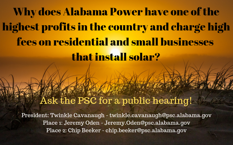 Why does Alabama Power have one of the highest profits in the country and charges high fees on residential and small businesses that install solar_